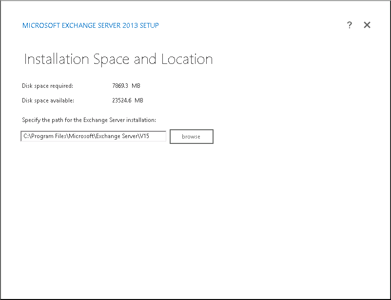 Select space and location [Default is okay] and click on next