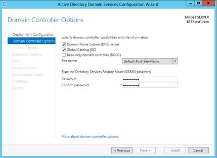 Domain Controller Options page